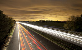Traffic light trails Stock Images