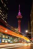 Traffic light trails in Auckland CBD at dusk Stock Photography