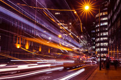 Traffic light trails in City of London at night. Rush hour in London at night Stock Photo