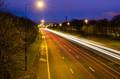Traffic light trails into Newcastle Stock Photos