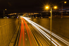 Traffic light trails on Newcastle bypass Royalty Free Stock Image