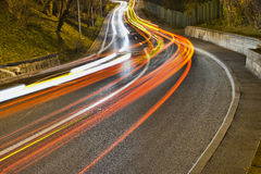 Traffic. Light trails, traffic after nightfall. Long exposure photograph