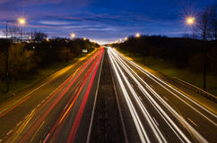 Traffic light trails out of Newcastle Stock Image