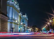Traffic light trails on the Palace Embankment in Saint Petersburg, Russia stock photography