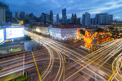 Traffic Light Trails in Singapore Chinatown Royalty Free Stock Photos
