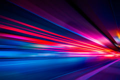 Traffic Light trails on street in Shanghai. China Royalty Free Stock Photos