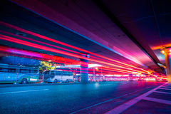 Traffic Light trails on street in Shanghai. China Royalty Free Stock Photography