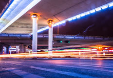 Traffic Light trails on street in Shanghai,China.  Royalty Free Stock Images