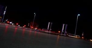 TRAFFIC LIGHT TRAILS TIMELAPSE IN PEAK HOUR IN DUTCH TILT stock footage