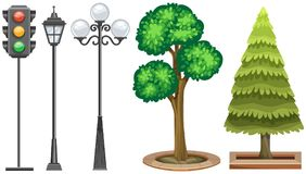 Traffic light and trees in the park. Illustration Royalty Free Stock Images