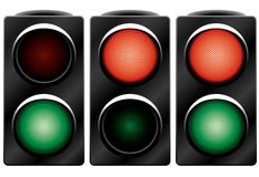 Traffic light. Variants. Vector illustration. Isolated on white background Stock Photos