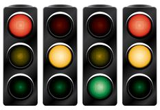 Traffic light. Variants. Vector illustration. Isolated on white background Stock Images