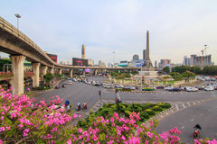 Traffic light at Victory monument public landmark in Bangkok Royalty Free Stock Photo