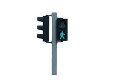 Traffic light for walk. Traffic light of walk to cross the street on white background royalty free stock images