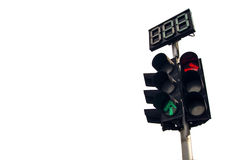 Traffic light on white background. Traffic light in white background,green light ,red light Stock Image
