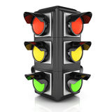 Traffic light. On white. 3d rendered image Stock Photos