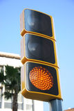 Traffic light on yellow. Traffic light with attention yellow light on Stock Image