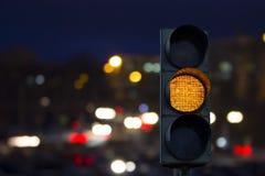 Traffic light yellow signal. Background night city Royalty Free Stock Photos