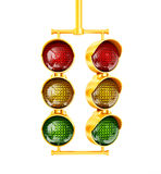 Traffic light. Yellow traffic light on a white  background Stock Photography