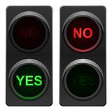 Traffic light yes and no. Traffic light with yes and no sign. Vector available Stock Photos