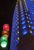 Traffic lights. Against blue building in Frankfurt Germany royalty free stock image