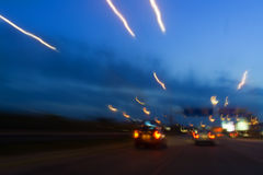 Traffic lights. In car shot at the evening Royalty Free Stock Images