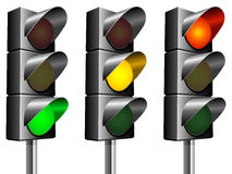 Traffic lights. Traffic lights, isolated on white background Stock Photography