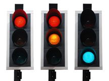 Traffic lights. Set of british traffic lights isolated on white background Stock Images