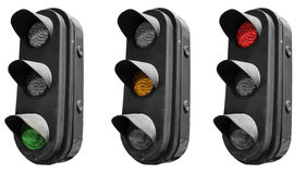 Traffic lights. Isolated traffic light in all combinations. Cut and use Royalty Free Stock Photos