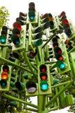 Traffic lights. Lot of traffic lights at big pole Royalty Free Stock Photos