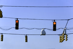 Traffic Lights. A group of traffic lights at one city intersection against a blue sky Stock Photography