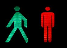Traffic lights. Green and red pedestrian traffic lights Stock Photos