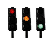 Traffic lights. In three stages on white Royalty Free Stock Images