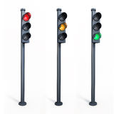 Traffic lights. 3d render three traffic lights ( on white and clipping path Stock Images