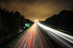 Traffic lights. Traffic light trails on busy highway(A38) UK Royalty Free Stock Photography