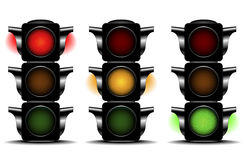 Traffic lights. Detailed illustration of traffic lights with different activated lights Stock Photo