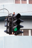 Traffic lights. On the building background Royalty Free Stock Photos