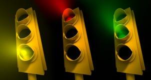 Traffic Lights. Three traffic lights - 3d render vector illustration