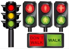 Traffic lights. Various traffic lights from different countries vector Royalty Free Stock Photos