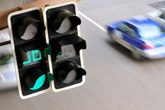 Traffic lights. China,Shanghai,downtown intersection with traffic lights Royalty Free Stock Photography