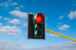 Traffic lights against the sky is lit red Stock Photo
