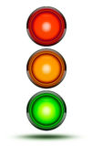 Traffic lights as found at vehicle intersections or road crossin. Gs isolated on white in sequence red, orange, green. Traffic signal light with drop shadow vector illustration