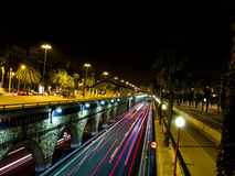 Traffic lights in Barcelona night Royalty Free Stock Photo
