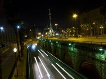 Traffic lights in Barcelona night Royalty Free Stock Image