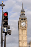 Traffic lights and big ben Stock Photo