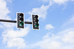 Traffic lights. On blue sky background Royalty Free Stock Photos