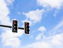 Traffic lights. On blue sky background Royalty Free Stock Image