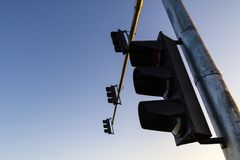 Traffic lights and blue sky royalty free stock images