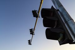 Traffic lights and blue sky royalty free stock photography