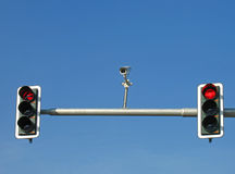 Traffic lights and camera. Red traffic lights and camera Royalty Free Stock Photo